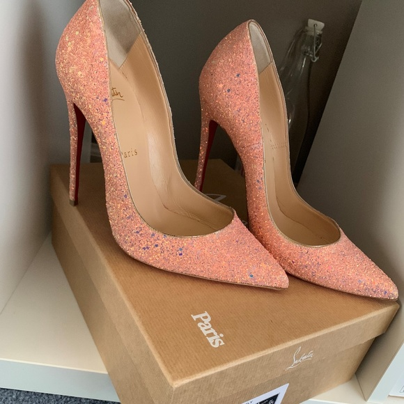 size 40 57244 ec4ae CHRISTIAN LOUBOUTIN DRAGONFLY GLITTER HEELS PINK